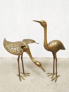 Vintage brass crane bird messing kraanvogel decoration XL