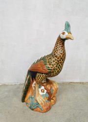 Vintage ceramic sculpture peacock pauw keramiek beeld
