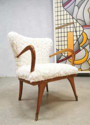 Vintage cocktail chairs Teddy fur fabric Gio Ponti Paolo Buffa Italian design lounge stoelen