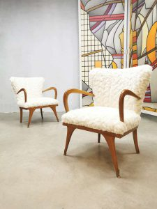 Vintage Italian design armchairs cocktail stoelen 'soft Teddy'