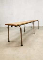 Vintage industrial slat bench latten bank industrieel
