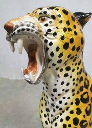 vintage Italian design ceramic cheetah tiger statue beeld