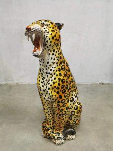 keramiek beeld statue cheetah tiger vintage ceramic