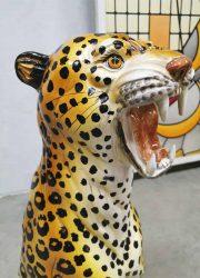 ceramic tiger cheetah keramiek beeld