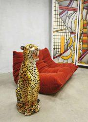 Vintage Italian ceramic cheetah tiger tijger keramiek beeld