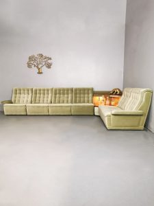 Vintage modular velvet sofa lounge bank & side table 'verlicht'
