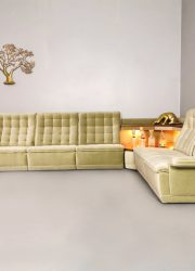 Vintage modular velvet sofa lounge bank & side table 'verlicht'