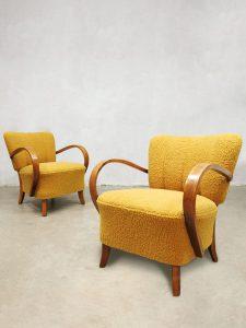 Vintage art deco armchairs lounge fauteuils Jindrich Halabala H-237