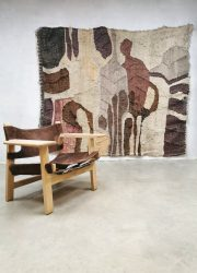 Vintage design handwoven wall tapestry embroidery wandtapijt knitted