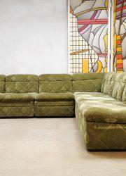 vintage design sofa lounge bank green velvet seating
