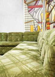vintage velvet green sofa bank modular sofa modulaire bank