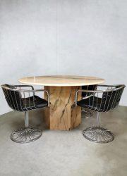Italian vintage round marble dining table marmeren eetkamertafel 'soft Pink'