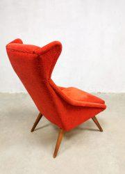 vintage Scandinavian wingback chair red oorfauteuil