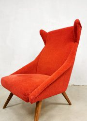 midcentury vintage design wingback chair oorfauteuil red