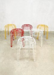 Vintage Dutch design colored wire stools ottoman hocker draad kruk Eclectic
