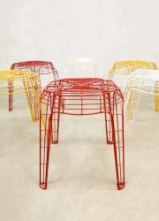 retro vintage draad krukken kruk wire stools stool eighties nineties design
