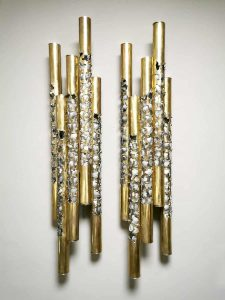 Set unique Brutalist brass design wall sconces wandlampen