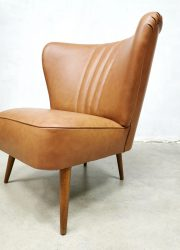 vintage retro cocktail chair brown cognac leather skai lounge fauteuil stoel