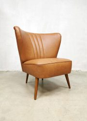 midcentury brown skai leather club fauteuil vintage fifties cocktail chair expo chair