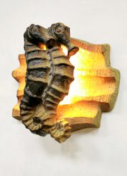 keramieke wandlamp zeepaard sea horse ceramic wall scone lamp sixties design