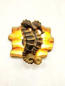 Vintage ceramic wall scone sea horse zeepaard wandlamp wanddecoratie brutalist