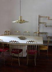 Vintage tavertine dining table eetkamertafel Willy Rizzo
