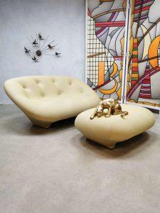 Vintage Ligne Roset sofa & stool 'Ploum' lounge bank & poef Bourellec