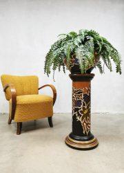 Midcentury ceramic plant stand plantenstandaard 'Floral Art Deco style'