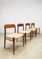 Vintage Danish dining chairs Niels O. Møller Deens eetkamerstoelen No.75