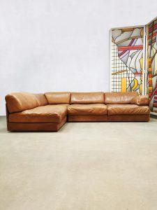 Midcentury design leather modular sofa bank De Sede DS76
