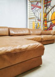 Vintage Midcentury design leather modular sofa de Sede bank DS76 modulair