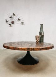 Mid century design tulip coffee table salontafel 'copper brutalism'