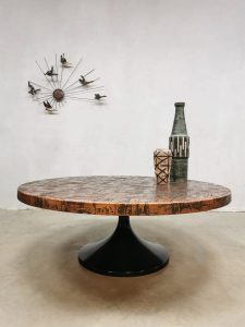 Mid century design tulip coffee table salontafel 'copper brutalism'