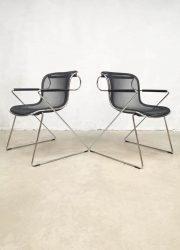 Vintage design Penelope dining chairs eetkamerstoelen Charles Pollock for Castelli 1980s