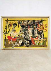 Midcentury artwork 'Les remailleur de fillets' tapestry wandkleed Robert Debieve