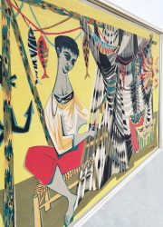 artwork painting silkscreen tapestry fisherman R Debieve