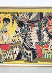 Robert Debieve artwork tapestry France fisherman silkscreen