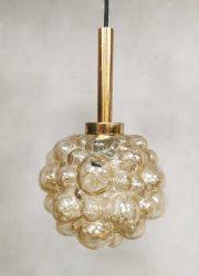 Vintage design bubble amber pendant Helena Tynell Glashutte Limburg 70's hanglamp