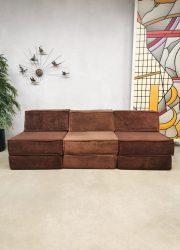 Vintage design modular chocolate brown sofa elementen bank Cor