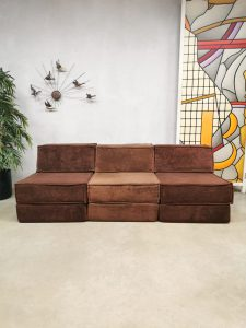 Vintage design modular chocolate brown sofa elementen bank Cor