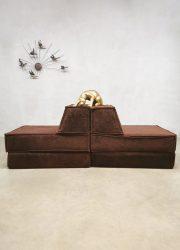 Cor design vintage sofa modular modulair elementen bank velvet bruin brown