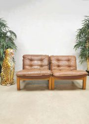Vintage design leather safari chairs leren stoelen