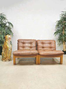 Vintage design leather safari chairs leren stoelen