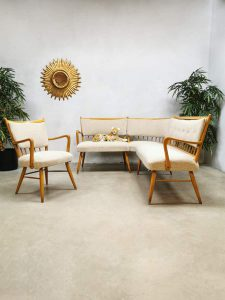 Vintage dining area lounge set sixties zithoek eetkamerbank