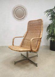 Vintage dutch design rattan swivel chair rotan Dirk van Sliedregt Noordwolde