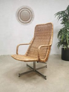 Vintage dutch design rattan swivel chair rotan Dirk van Sliedregt Noordwolde