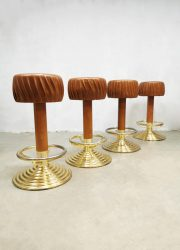 Eclectic vintage design barkruk krukken barstool brass