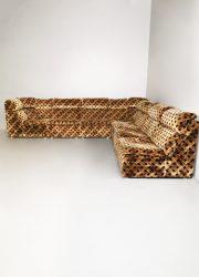 Vintage modular sofa chocolate print modulaire lounge bank