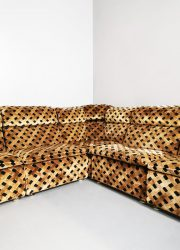 Sofa brown vintage modular lounge bank velvet bruin modulair elementen