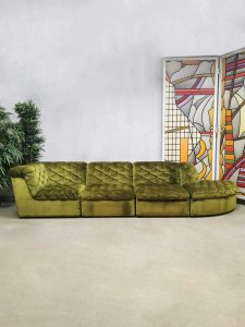 Vintage modular sofa velvet modulaire bank 'Luxurious green'